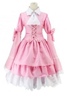Pink Long Sleeves Bowknot Cosplay Costume Sweet Lolita Dress