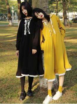Navy Lace Loose High Waist Long Sleeves Sweet Lolita Dress
