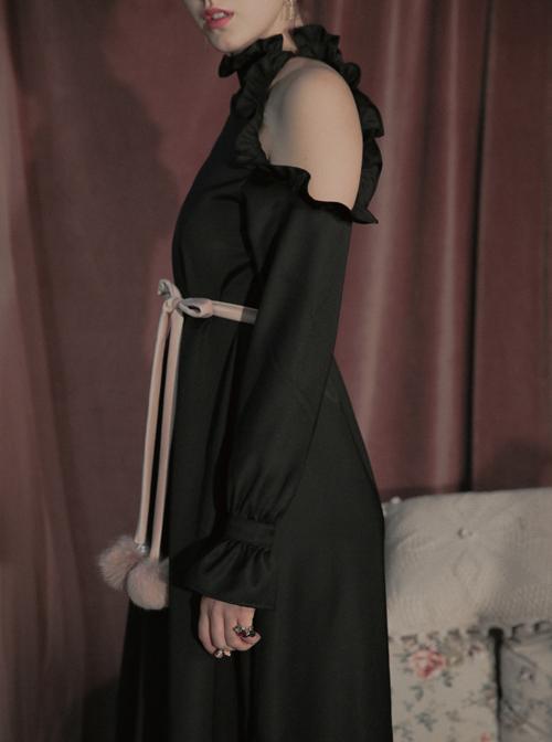 Off-shoulder Ruffle Collar Black Gothic Lolita Long Sleeve Dress