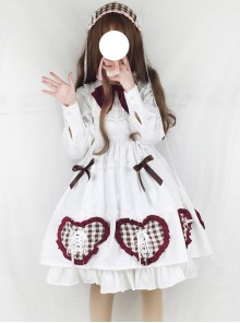 Bowknot Heart-shaped Pattern Sweet Lolita Long Sleeve Dress