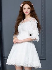 Palace Style Retro White Chiffon Puff Sleeve Classic Lolita Dress