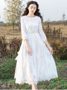 White Embroidery Lace Classic Lolita Long Sleeve Dress