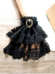 Black Memory Lace Metal Chain Lady Lolita Wrist Strap