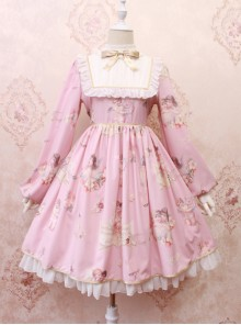 Oil Painting Angel Series Bowknot Classic Lolita Long Sleeve Dress