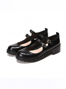 College Style Black Leather Lolita Mid Heel Shoes