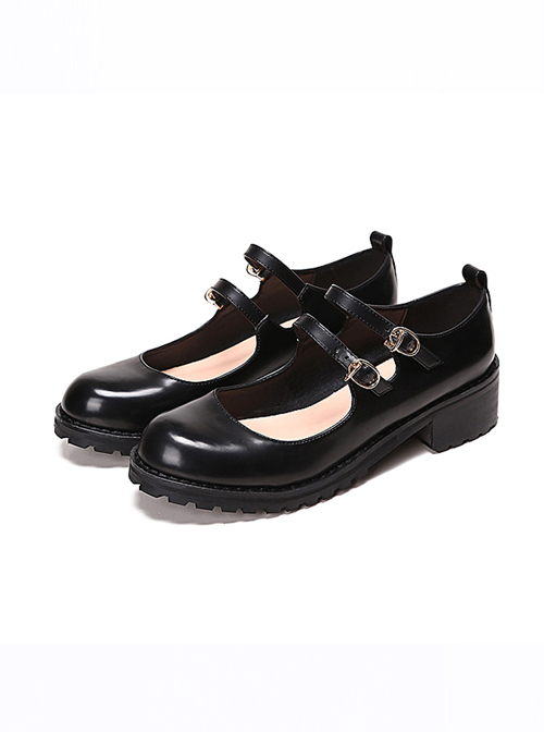 58fffbe6f4ac College Style Black Leather Lolita Mid Heel Shoes
