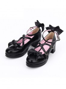 Black Cross Buckle Princess Bowknot Lolita Mid Heel Shoes