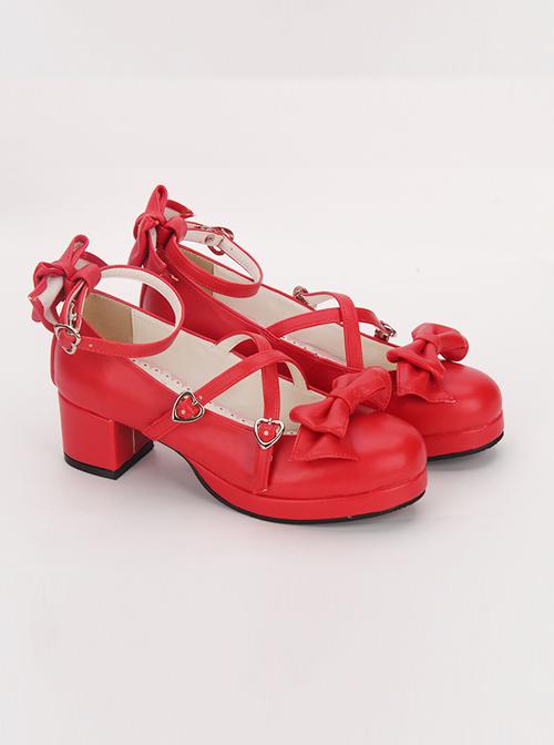 Black Cross Buckle Princess Bowknot Lolita Mid Heel Shoes