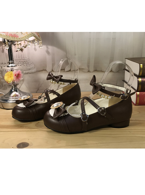 Black Bowknot Bead Chain Lolita Low Heel Shoes