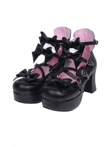 Black Bowknot Sweet Lolita Princess High Heel Shoes