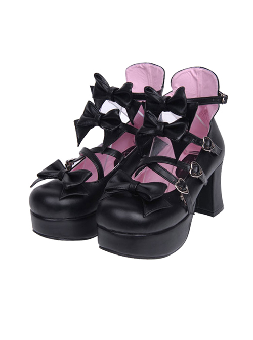 Black Bowknot Sweet Lolita Princess High Heel Shoes
