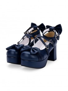 Dark Blue Bowknot Round-toe Sweet Lolita High Heel Shoes