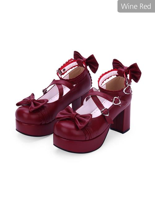Dark Blue Bowknot Round-toe Sweet Lolita High Heel Shoes
