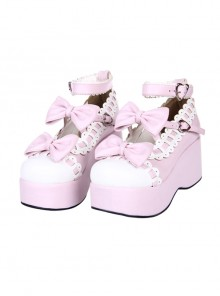 White Lace Bowknot Pink Sweet Lolita Platform Shoes