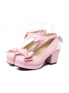 Bowknot Shallow Mouth Pink Lolita High Heel Shoes