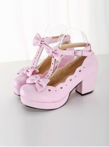 Pink Bowknot Heart-shaped Hollow Out Lolita High Heel Shoes
