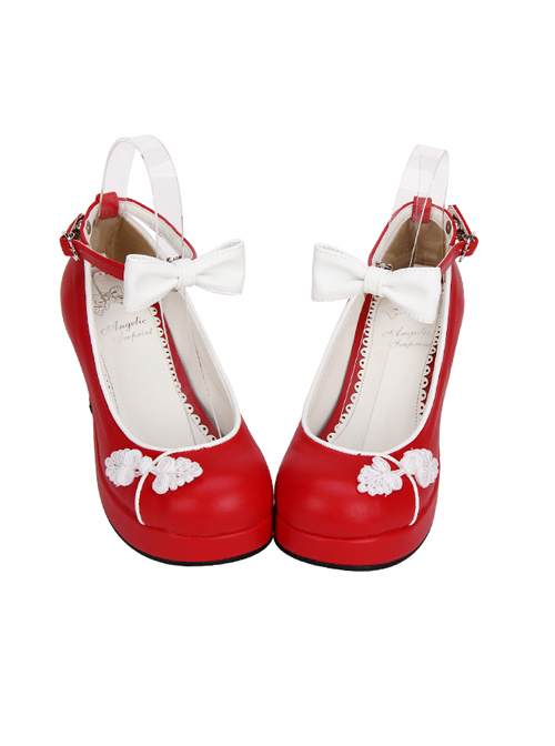 Bowknot Chinese Style Embroidered Lolita High Heel Shoes