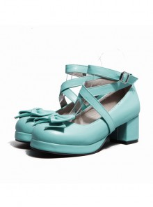 Cross Buckle Blue Bowknot Lolita High Heel Shoes
