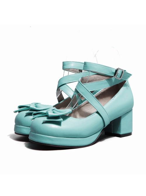 Cross Buckle Blue Bowknot Lolita High Heel Shoes