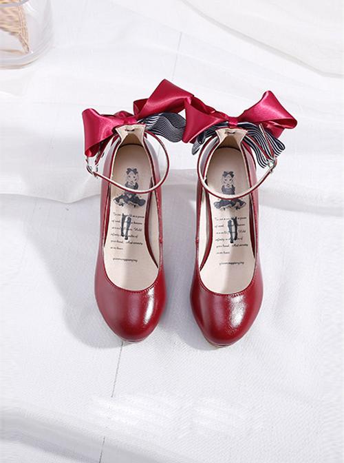 Ribbon Bowknot Princess Shoes Wine Red Lolita High Heel Shoes
