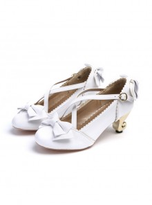 White Bowknot Cute Lolita High Heel Shoes