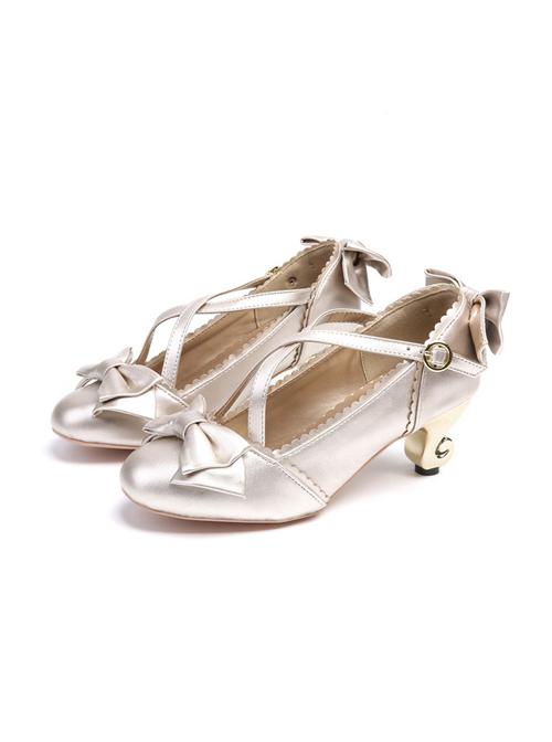 White Bowknot Cute Lolita High Heel Shoes