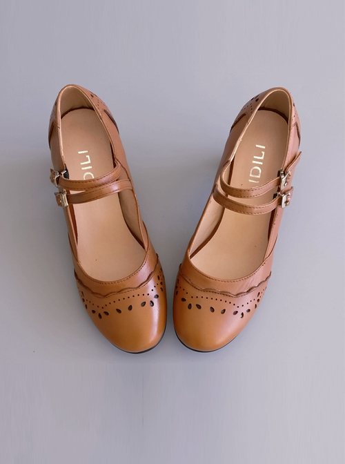 Pure Brown Hollow Out Lace Lolita High Heel Shoes