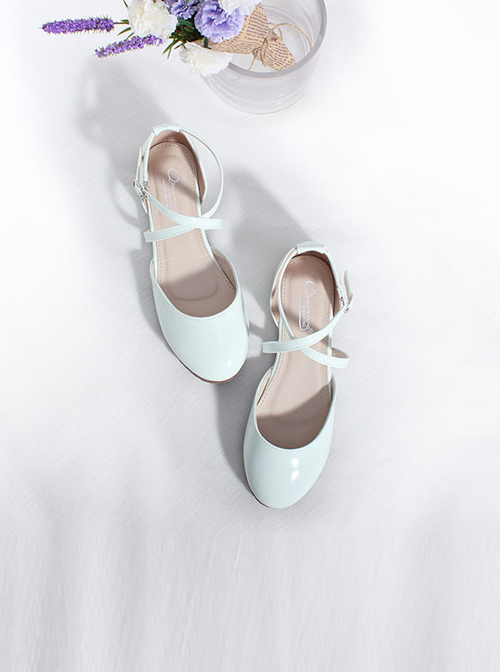 Summer Cross Buckles Shallow Mouth Lolita Flat Heel Shoes