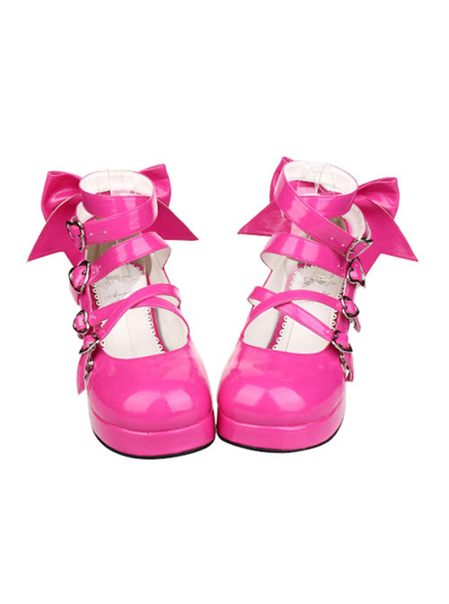 Heart-shaped Buckle Rose Red Bowknot Lolita High Heel Shoes