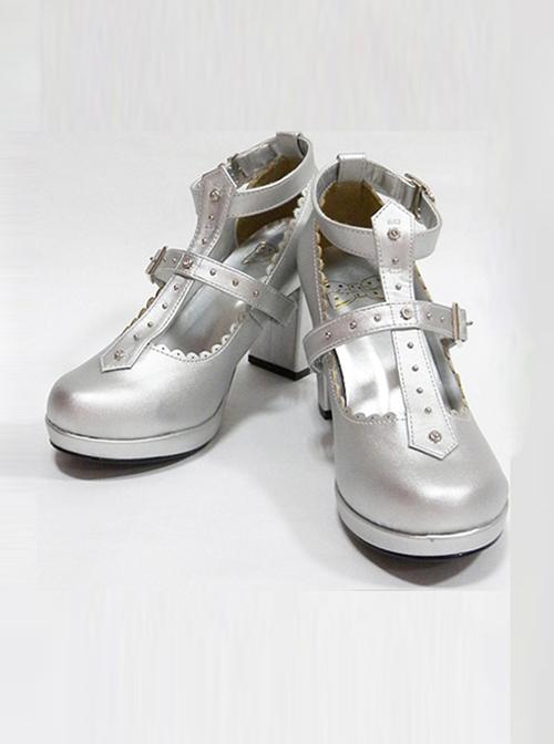 Retro Cross Buckle Rivet Lolita High Heel Shoes