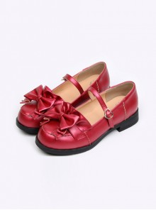 Wine Red Leather Bowknot Lolita Flat Shoes