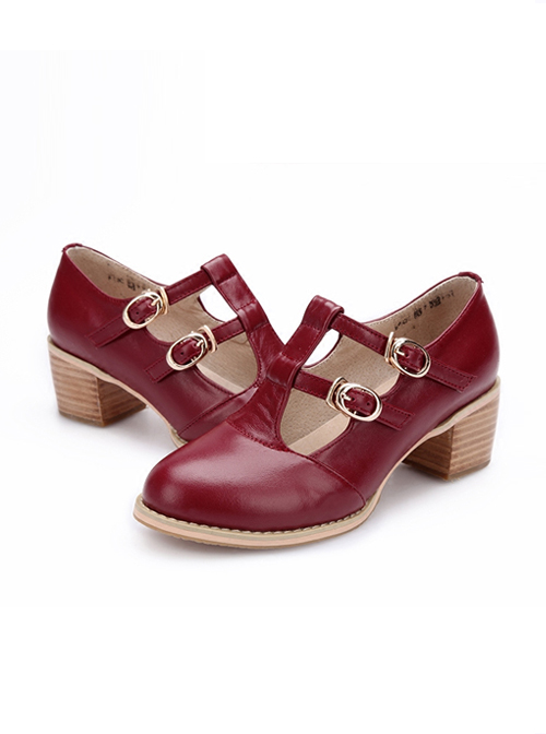 Retro Wine Red Double Buckles Lolita Mid Heel Shoes