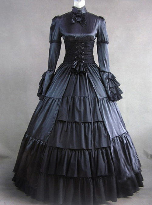 Victorian Stand Collar Long Sleeve Gothic Lolita Prom Long Dress