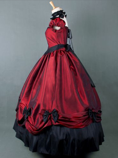 Victorian Retro Wine Red Bowknot Gothic Lolita Prom Long Dress