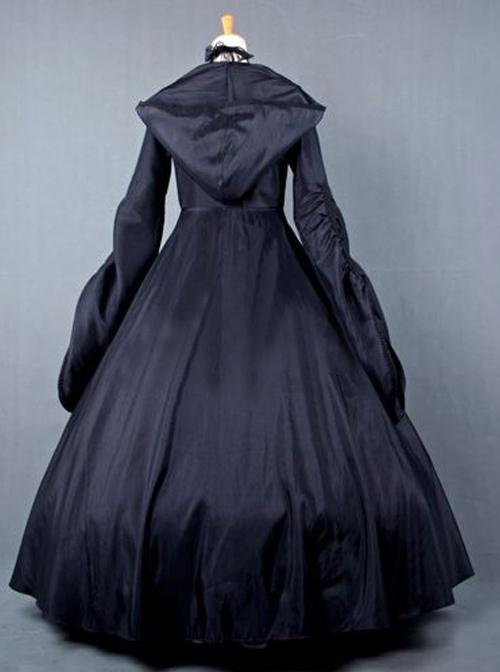 Palace Style Retro Gothic Lolita Prom Hooded Long Dress