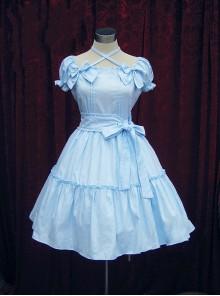 Blue Short Sleeves Bow Cotton Sweet Lolita Dress