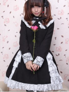 Gorgeous Black Long Sleeves Bow White Lace Lolita Coat