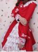 Glamorous Red Long Sleeves Bow White Lace Lolita Coat