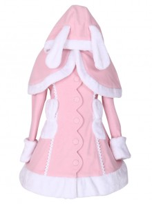 Pink Cute Bunny Shawl Sweet Lolita Winter Jacket