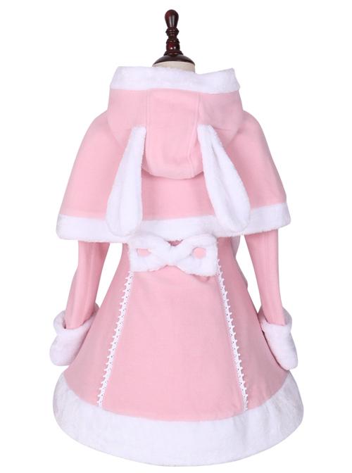 Pink Cute Bunny Shawl Sweet Lolita Winter Jacket