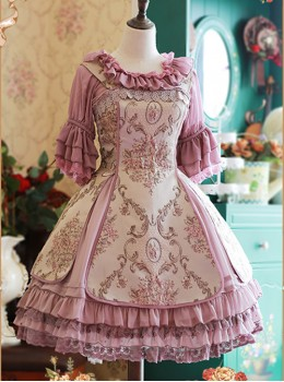 Light Purple Chiffon Tridimensional Embroidery Cake Skirt