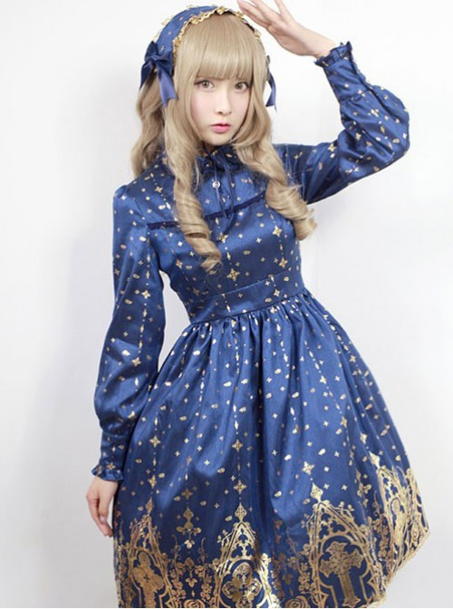Neverland Lolita,Gold Stamping Cross, Lolita OP Dress