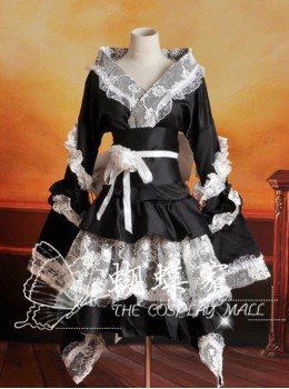 V-Neck Black And White Lace And Ruffles Cosplay Lolita Long Sleeves Dress