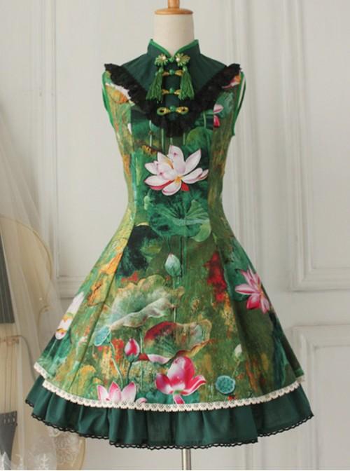 Cotton Vintage Chinese lotus Flounced Little Standing Collar Qi Lolita Sleeveless Dress