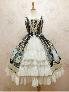 Crystal Rabbit Series Chiffon Printing Sweet Lolita Sling Dress