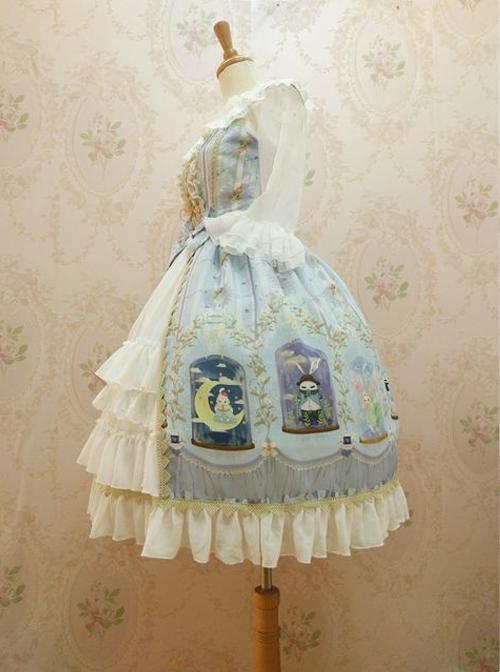 Crystal Rabbit Series Chiffon Printing Sweet Lolita Sling Dress
