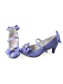 Purple Matte Bowknot Sweet Lolita Lovely Bride High Heel Shoes
