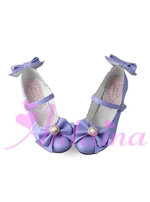 Purple Matte Bowknot Sweet Lolita Lovely Bride High Heel Shoes