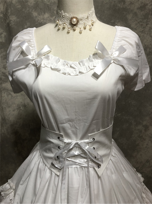 White Short Puff Sleeves Sweet Lolita Dress