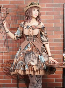 Rabbit Teeth ,Dream Pointer~ Steampunk Lolita Summer Mid-length sleeves OP Dress -The 2nd Round Pre-order